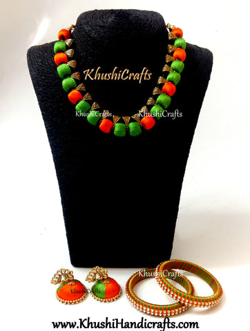 Silk Thread Necklace set in Green and Orange with Bangles.