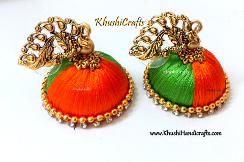 Dual Shaded Silk Jhumkas in Orange and Green with a Peacock Stud