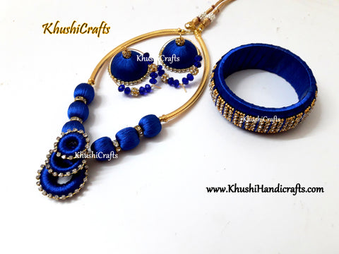Blue Silk thread set with matching Kada style Bangle and Jhumkas