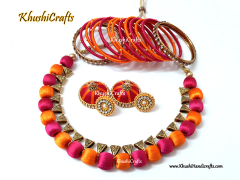 Pink and Orange Silk thread Necklace set with matching Jhumkas and Bangles