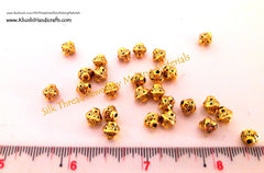 Designer Antique Gold spacer beads.Sold as a pack of 10 beads! - Khushi Handmade Jewellery