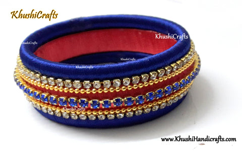 Kada Style Designer Silk Thread Bangle in Peach and Blue