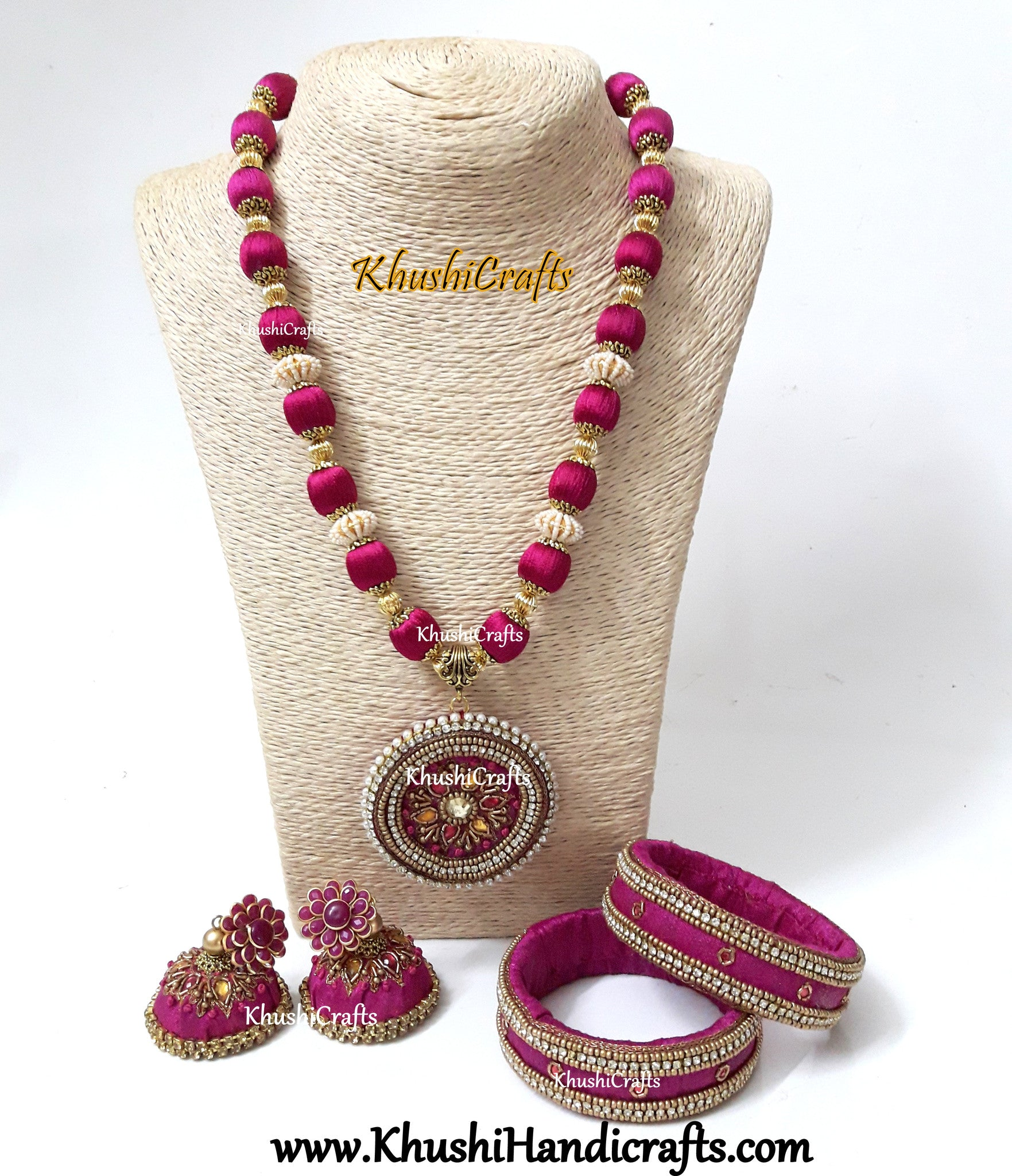 Pink Raw silk  Necklace set with Bangles with Hand embroidery Variation 1(Zardosi & Aari /Maggam work)! - Khushi Handmade Jewellery