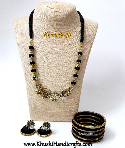Black silk thread Necklace set with Multiple Leaf Pendant with a set of bangles!