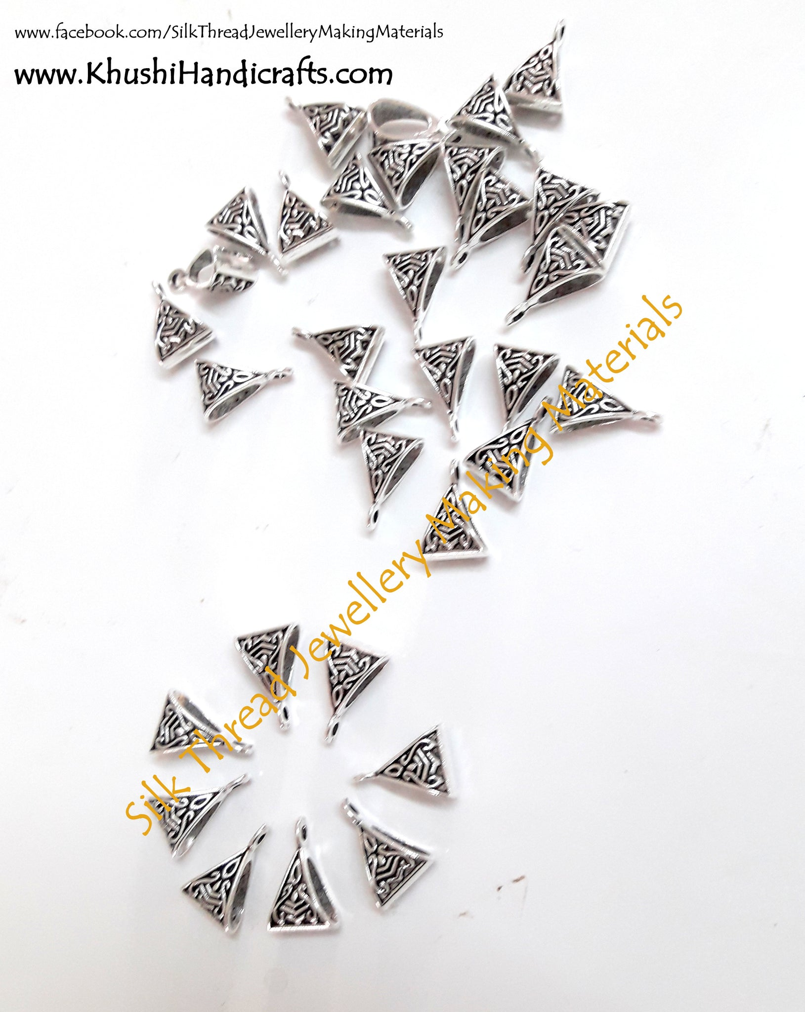 High Quality Antique Silver Triangular Bails - Khushi Handmade Jewellery