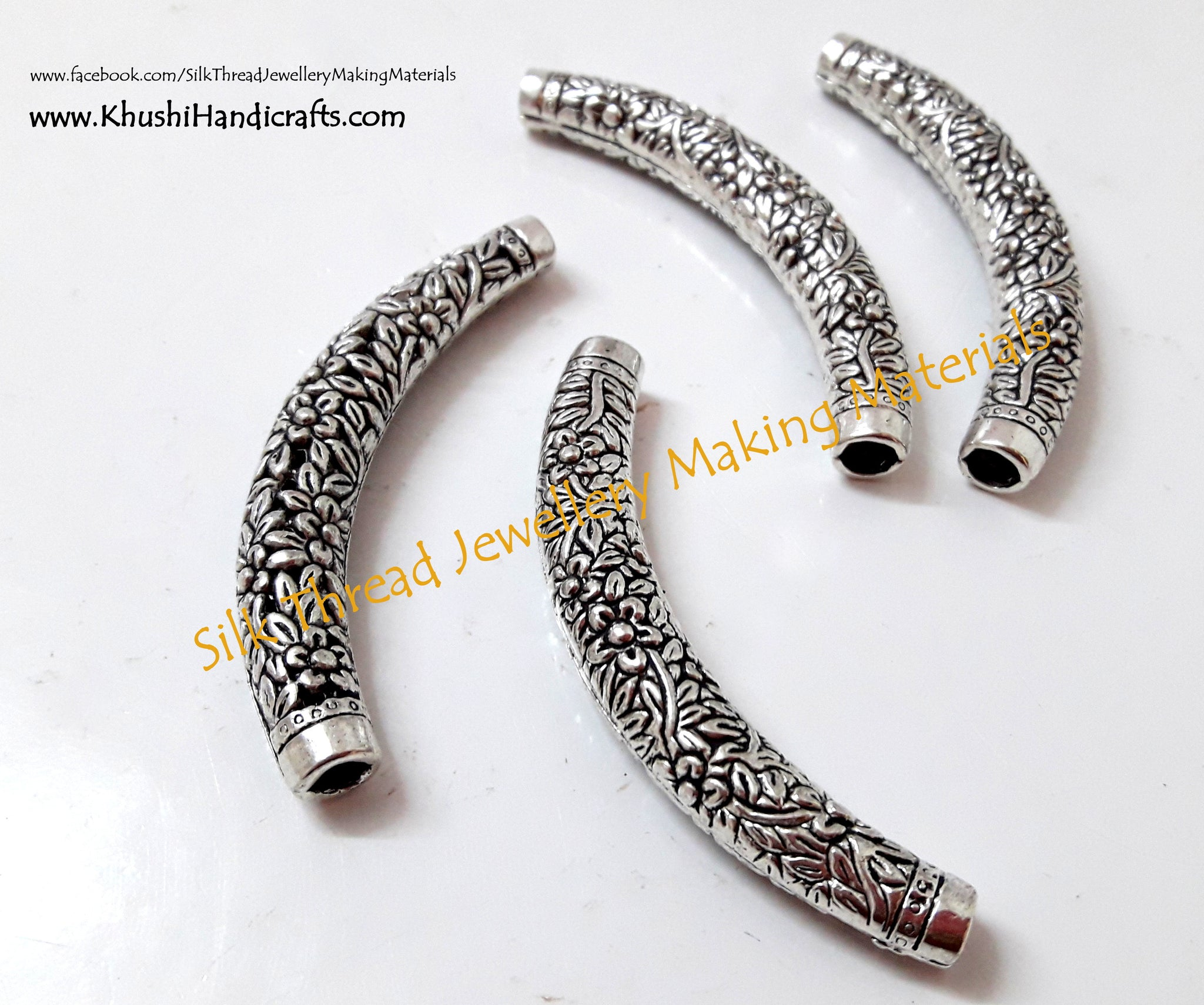 Designer Floral Silver Bent Pipes/Tubes.Sold per pair! - Khushi Handmade Jewellery