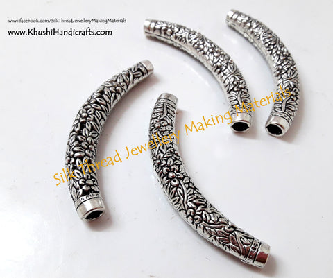 Designer Floral Silver Bent Pipes/Tubes.Sold per pair!P012