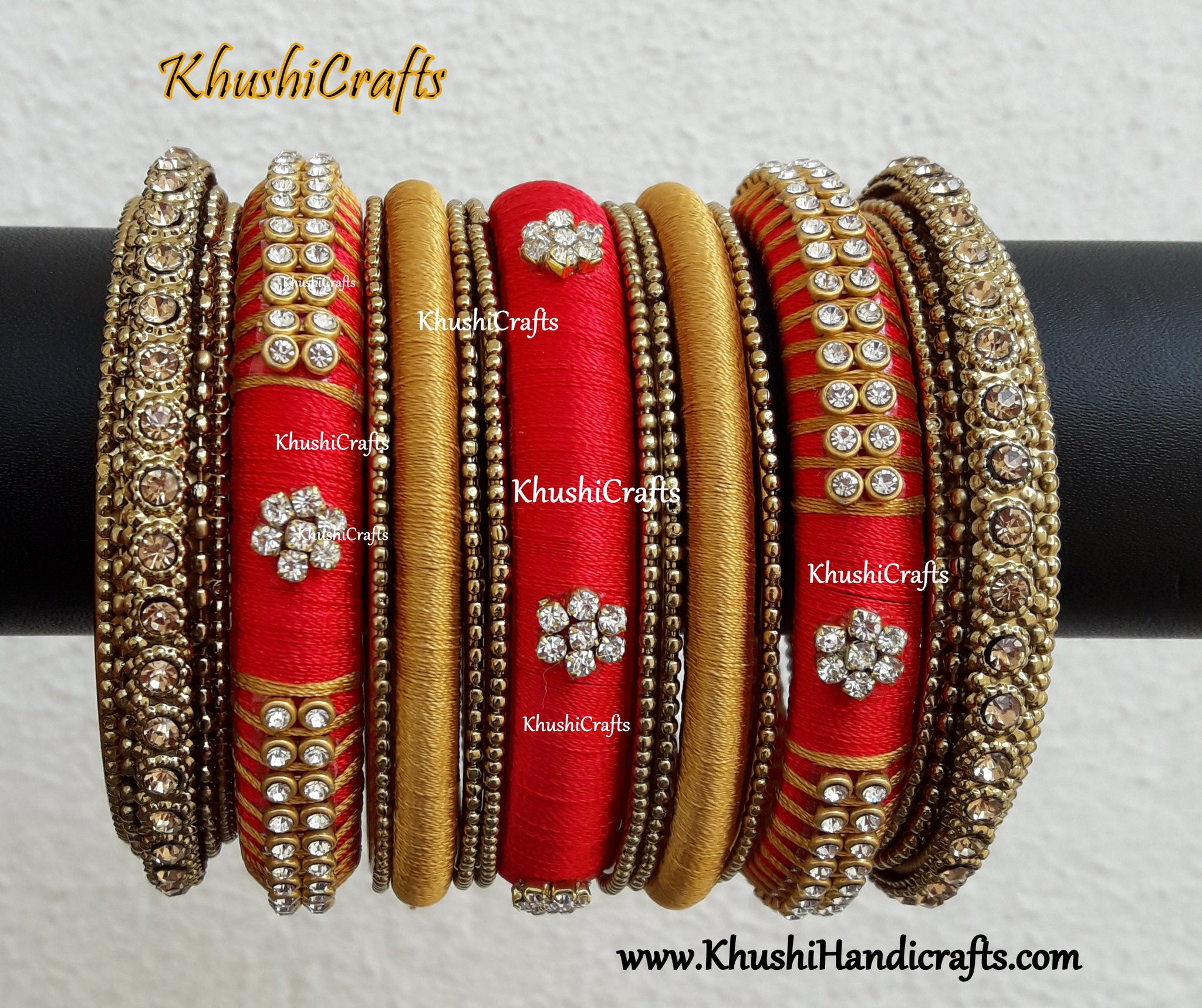 Silk thread bangles in Red and Gold