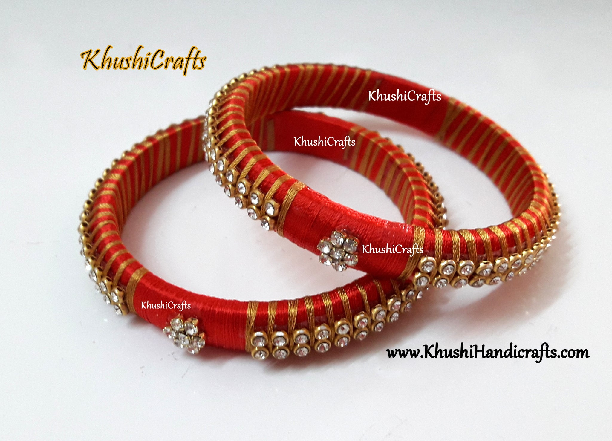 Silk thread Bangles in Red and Gold combination