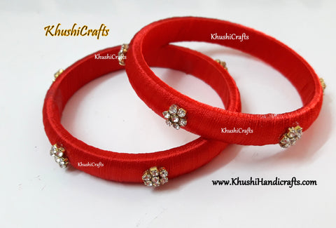 Simple Silk thread Bangles in Red