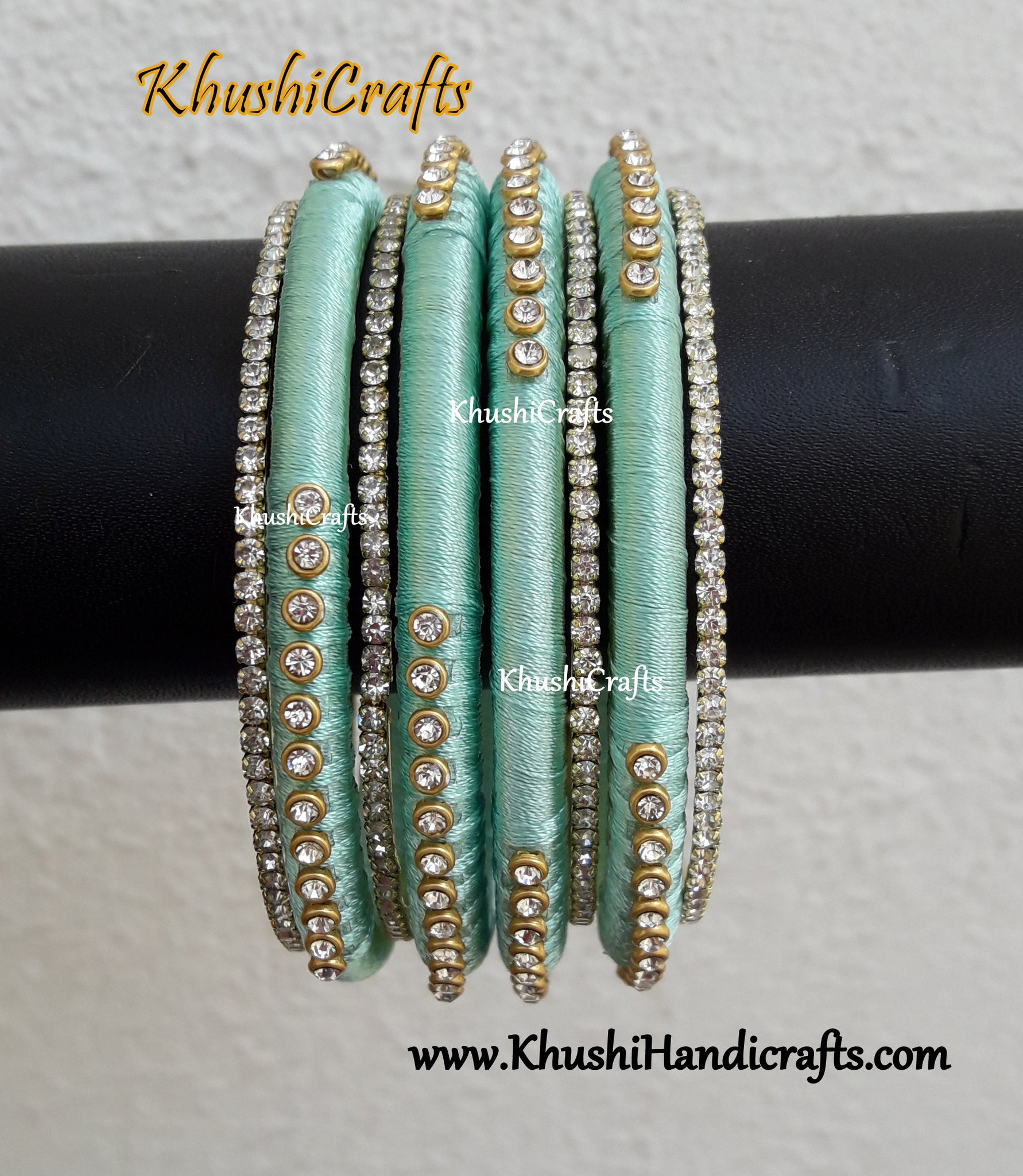 Pastel Green silk thread Designer bangles