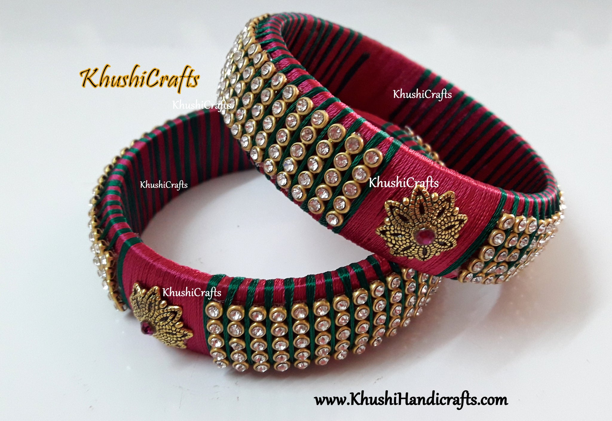 Designer Silk thread Kada Bangles in Pink and green