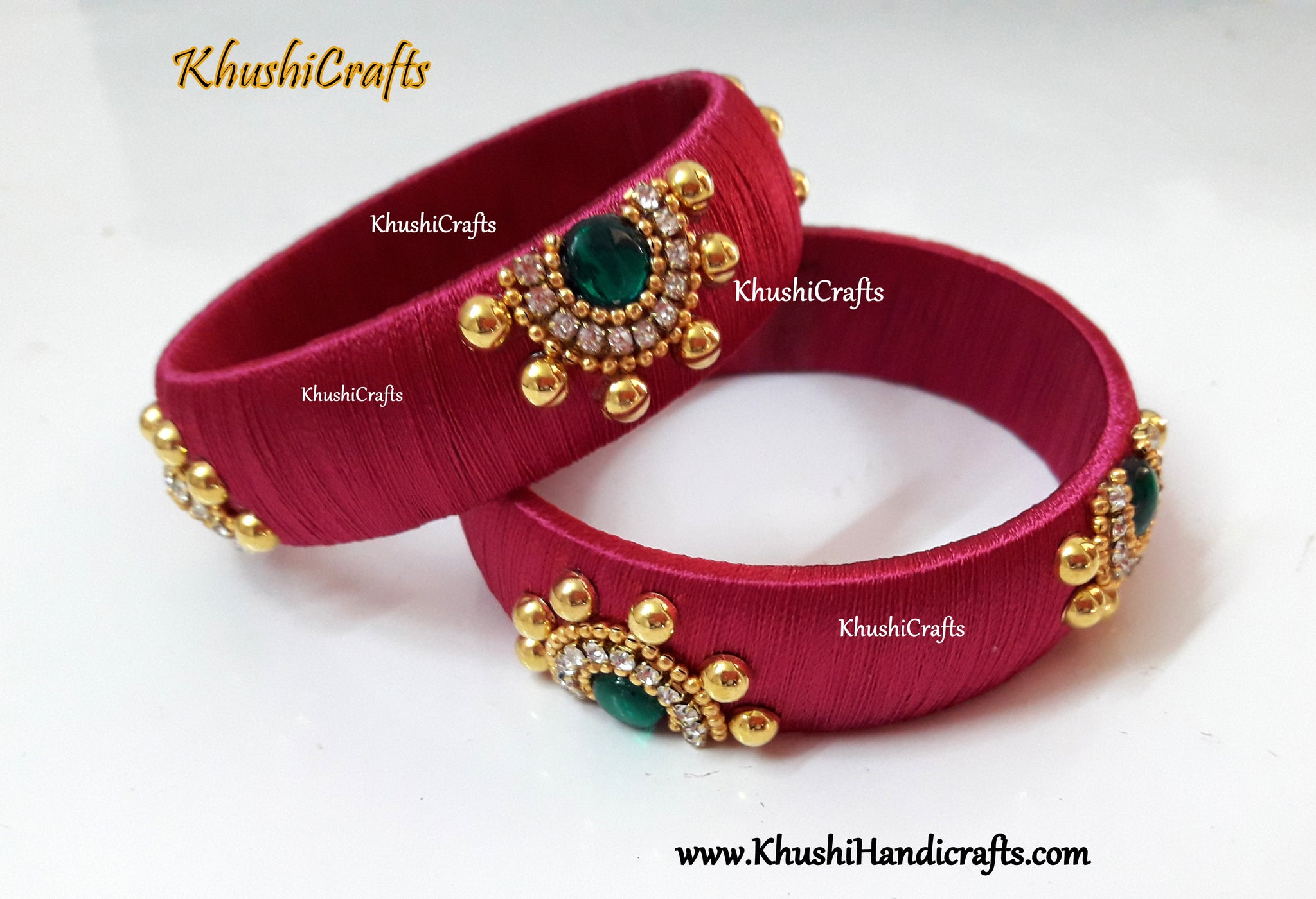 Designer Silk thread Kada Bangles in Pink