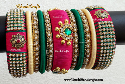 Bridal Silk thread bangles in Pink ,Green and Cream combination!