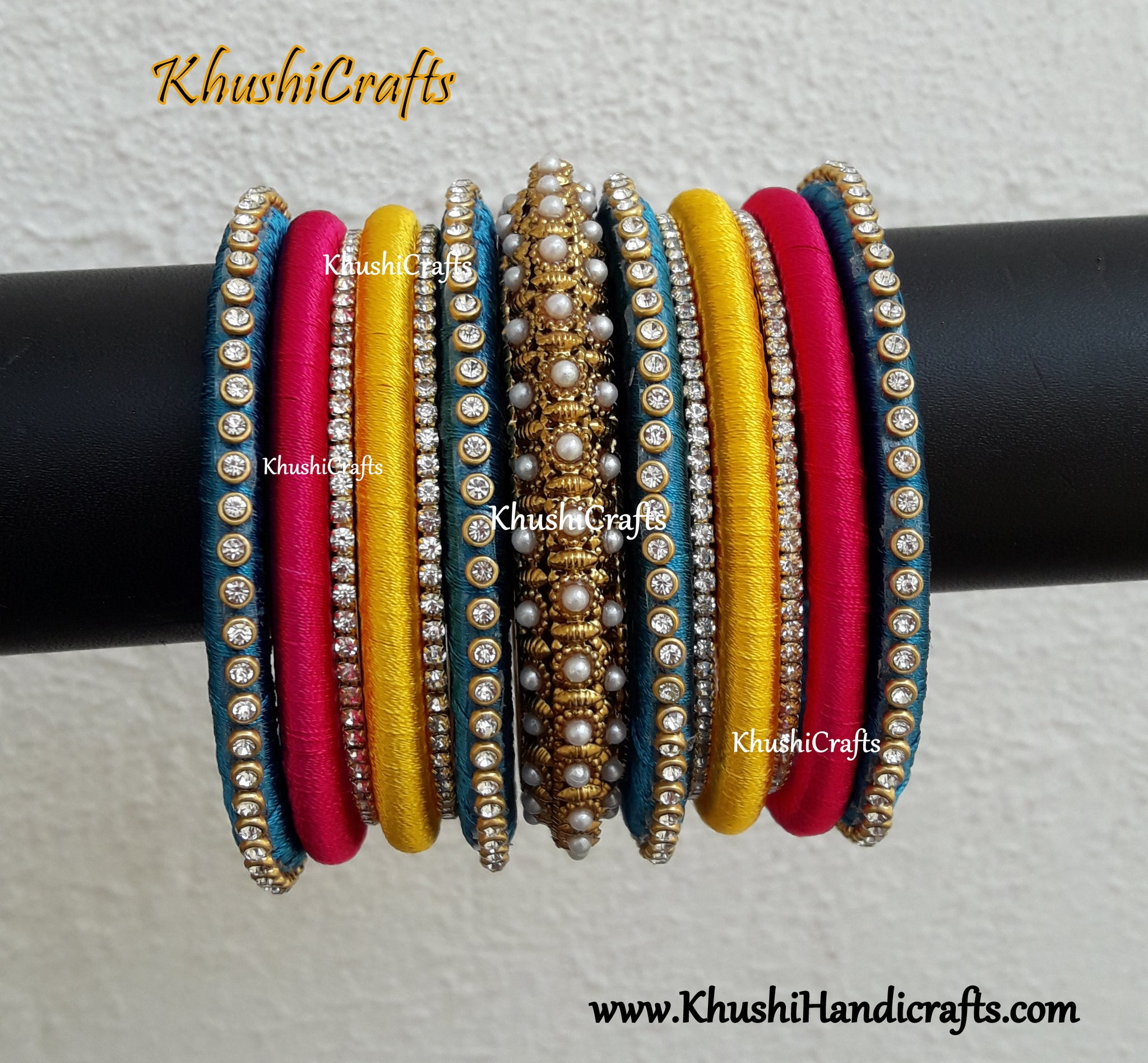 Multicolored Bridal Silk thread bangles