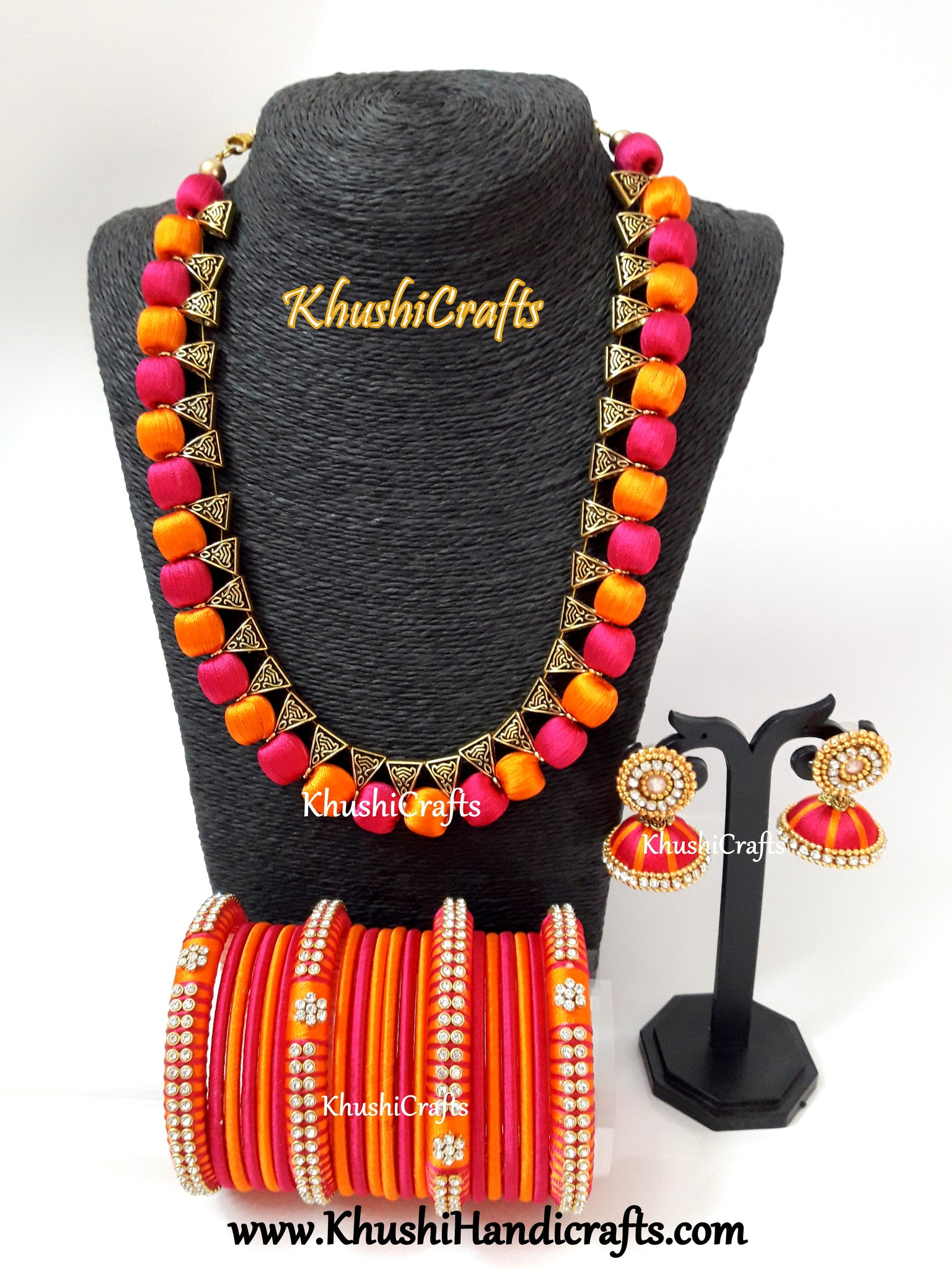 SILK THREAD JEWELRY  in Pink and Orange
