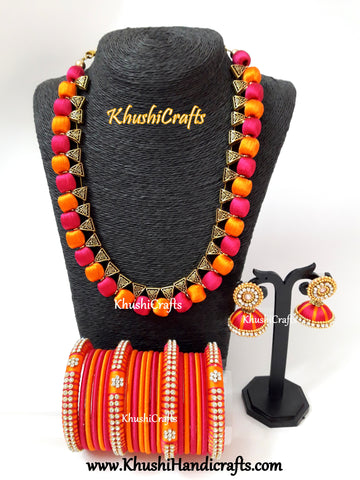 Orange and Pink Silk Thread Necklace set with matching bangles and jhumkas!