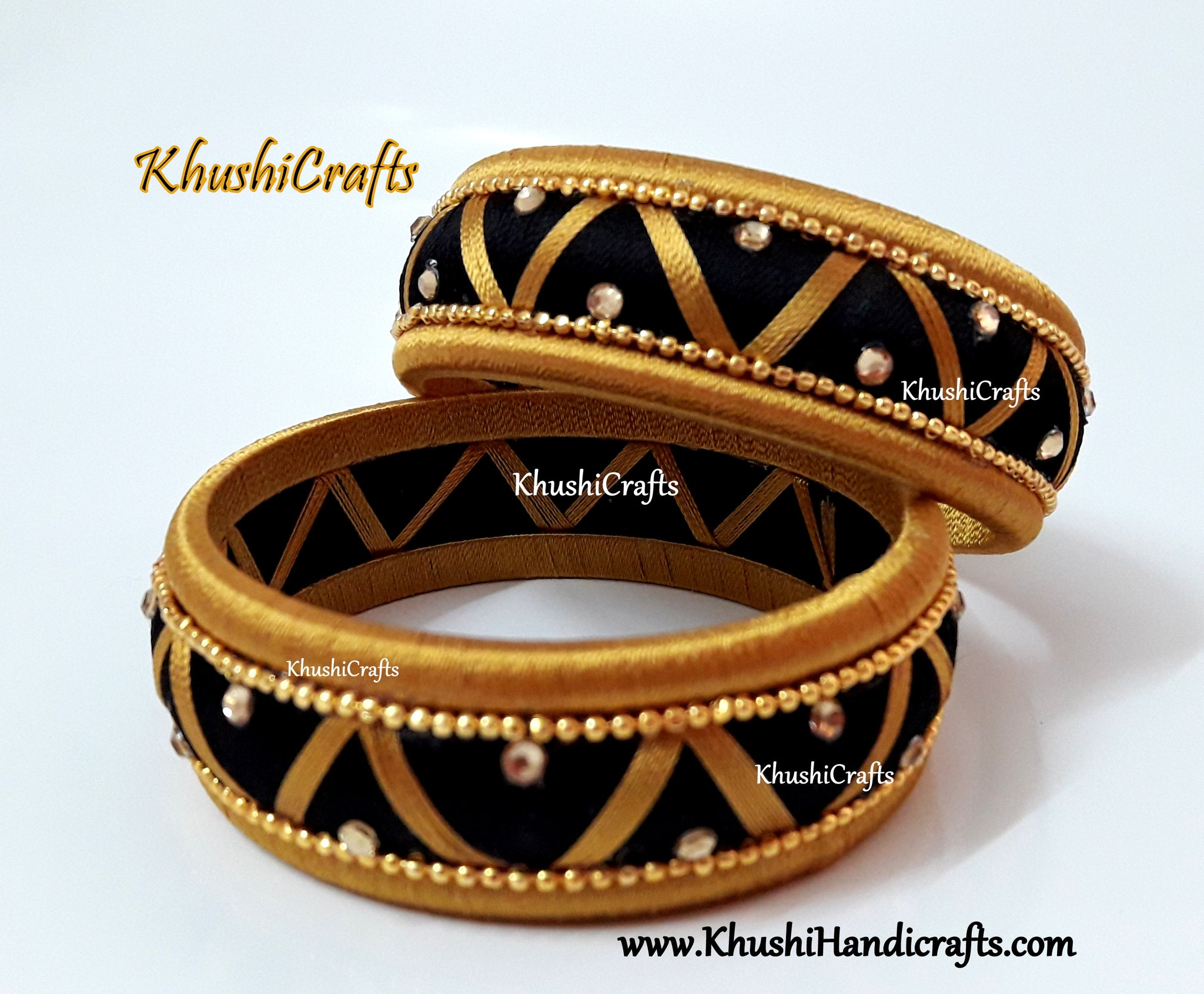 Designer Silk thread Kada Bangles in Black and Gold
