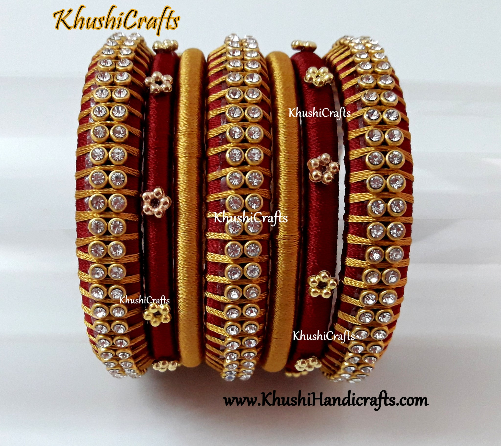 Maroon and Gold Silk thread Designer Bangles