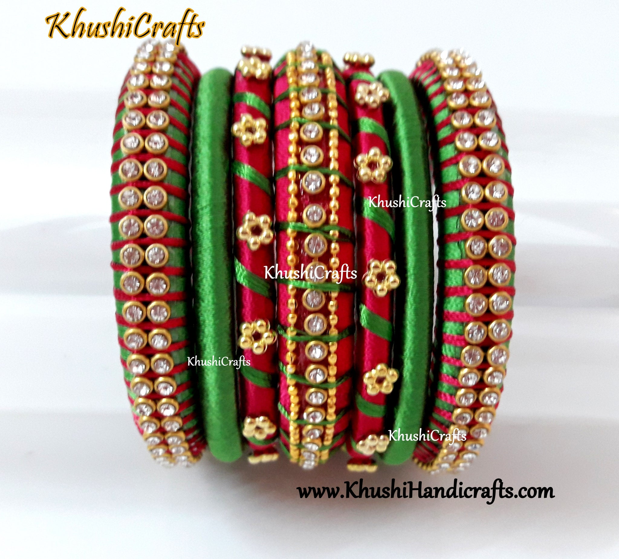 Green and Pink Silk thread Designer Bangles