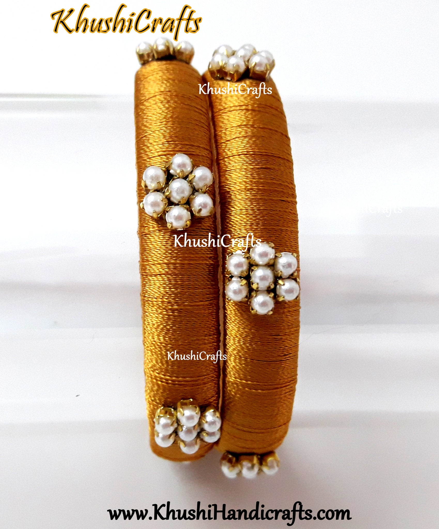 Silk thread Bangles Gold with Pearl work