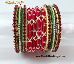 Green,Cream and Pink Silk thread Designer Bangles