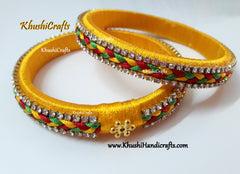 Yellow designer Silk thread Bangles with plait work