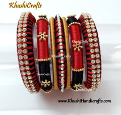 Black and Red Silk thread Designer Bangles
