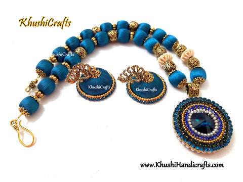 Silk Thread Jewellery set in Peacock Blue shade with a handcrafted Rivoli Glass crystal pendant!