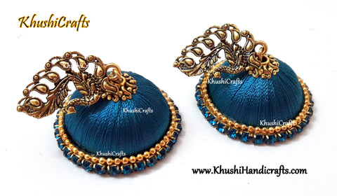 Silk Jhumkas in Peacock blue with a Peacock Stud