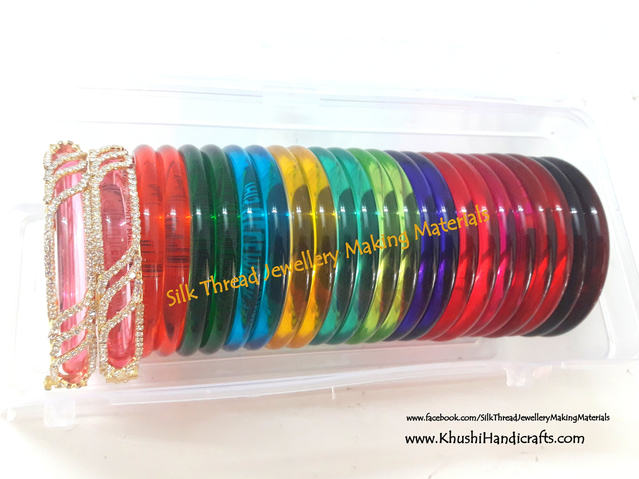 Interchangeable Multi-color Bangle Set with a pair of adjusting bangle rhinestone cuff - Khushi Handmade Jewellery
