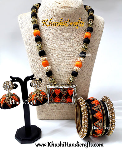 Black Orange Raw silk  Necklace set with Bangles with Hand embroidery(Zardosi & Aari /Maggam work)!