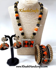 Raw Silk bangles,Jhumkas and Neckpiece