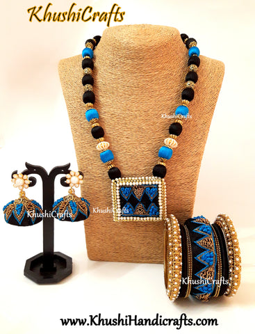 Blue and Black Raw silk Designer Embroidered Necklace set with raw silk Bangles and Jhumkas with French Knot work(Zardosi & Aari /Maggam work)!