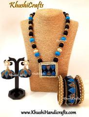 Blue Black Raw silk Designer Embroidered Necklace set with raw silk Bangles and Jhumkas with French Knot work(Zardosi & Aari /Maggam work)!