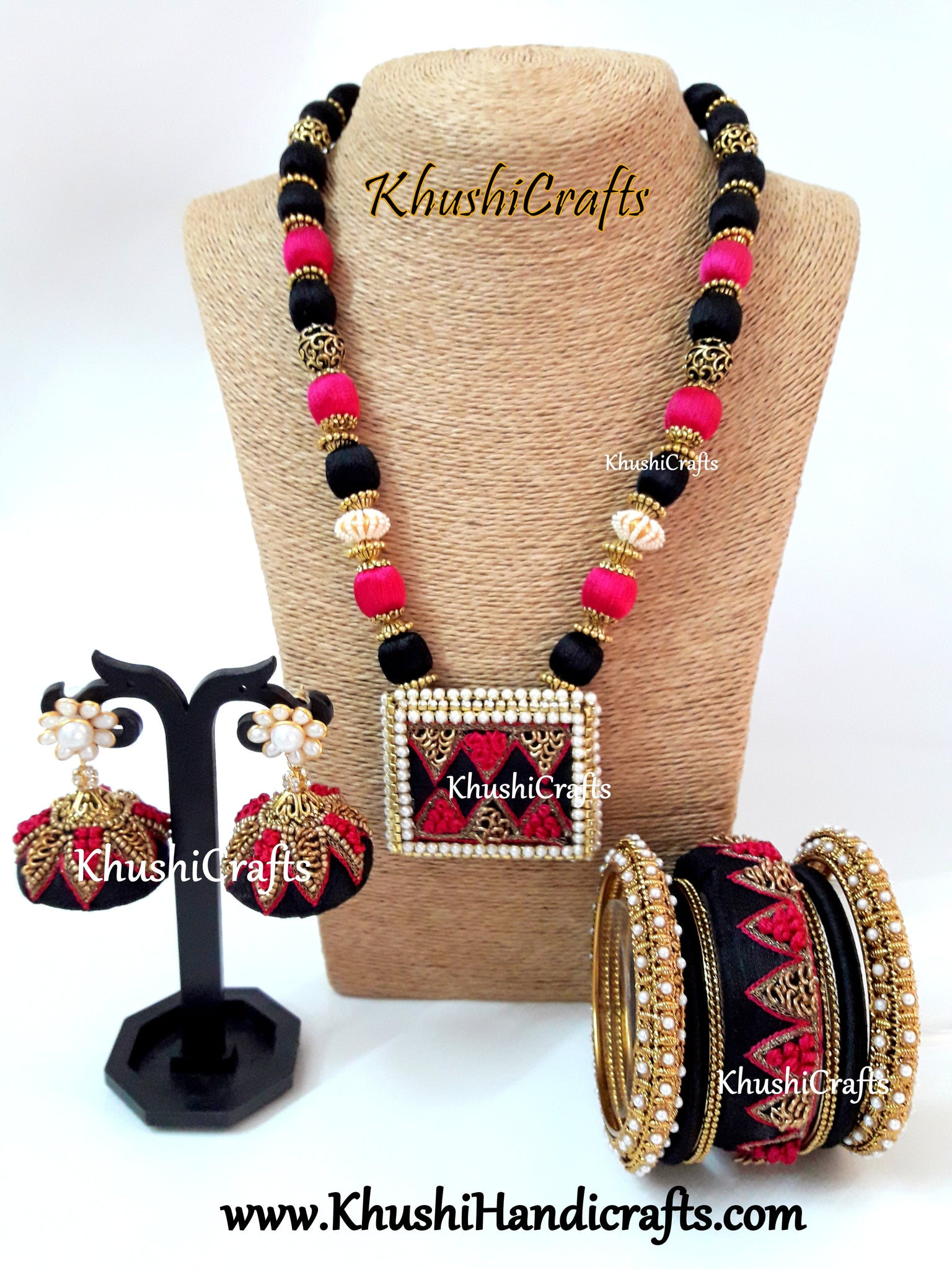 Pink and Black Raw silk Designer Embroidered Necklace set with raw silk Bangles and Jhumkas with French Knot work(Zardosi & Aari /Maggam work)!