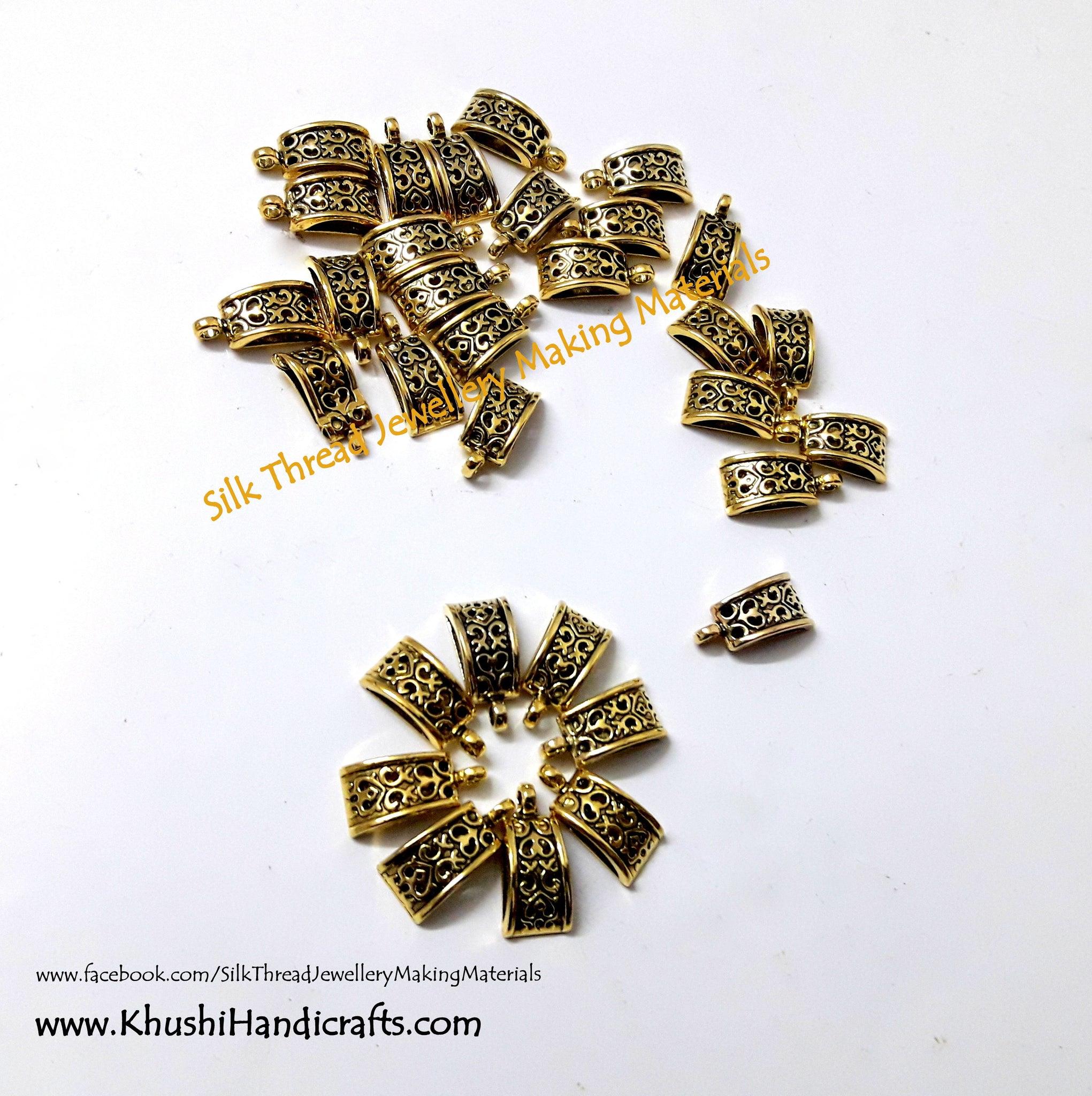 High Quality Antique Gold Bails Pattern 1 - Khushi Handmade Jewellery