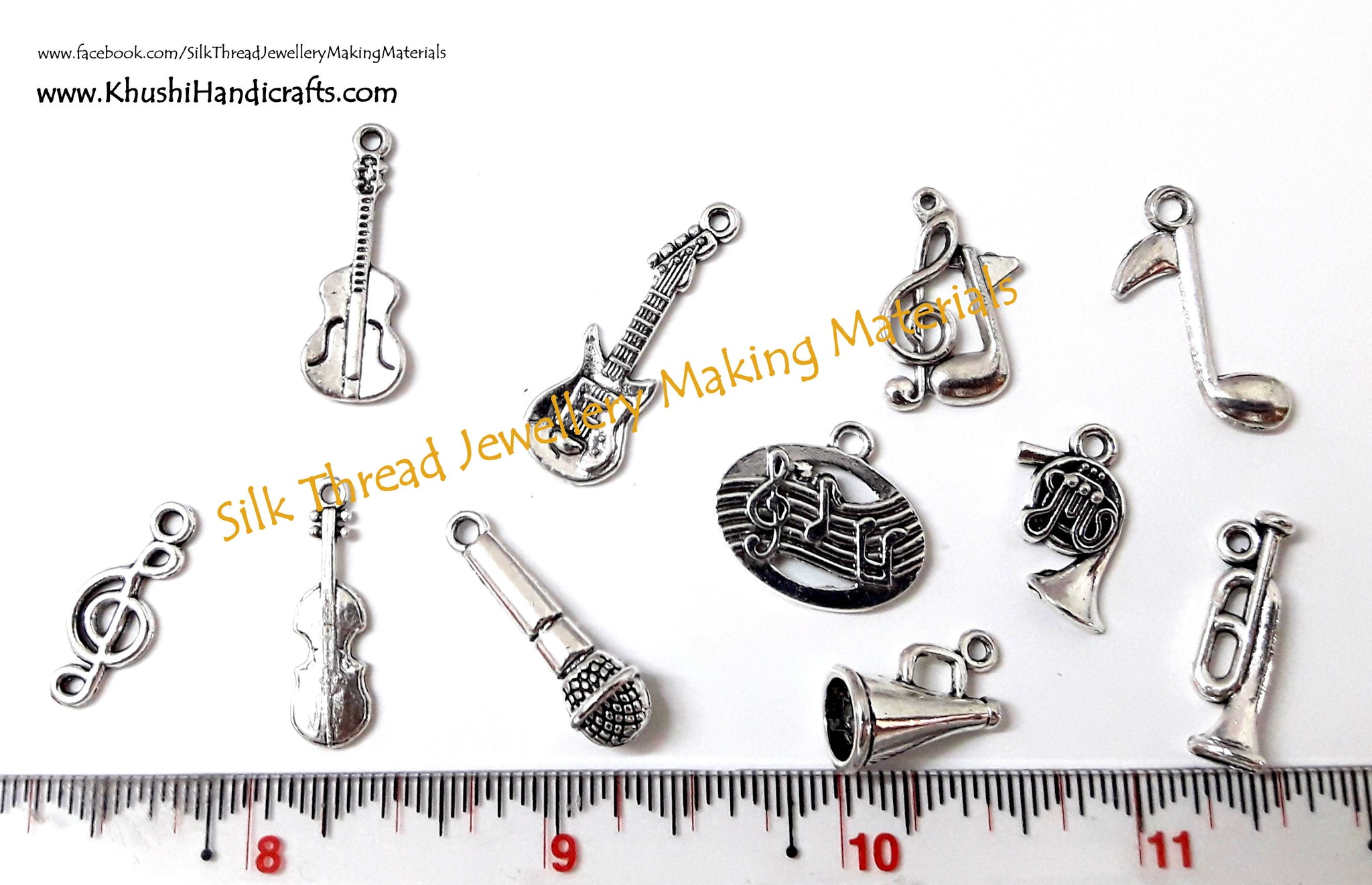 Mixed Music Note Guitar Trumpet Charms(Combo 1) for Bracelet and Necklace Jewelry. Sold as a combo!