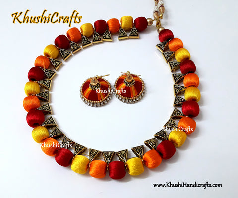 Red Orange Yellow silk thread Necklace set