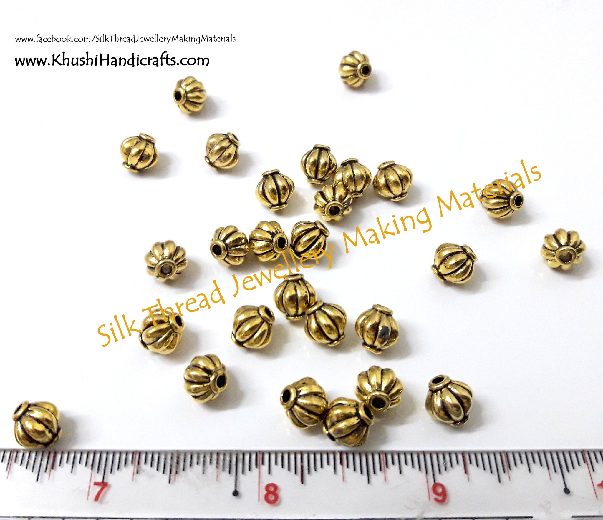 Antique Gold Lantern spacer beads. Jewelry spacer beads