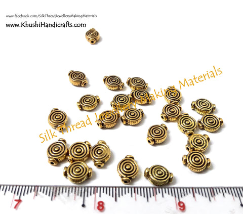 Antique Gold Spiral spacer beads.Sold as a set of 50 pieces -SP10