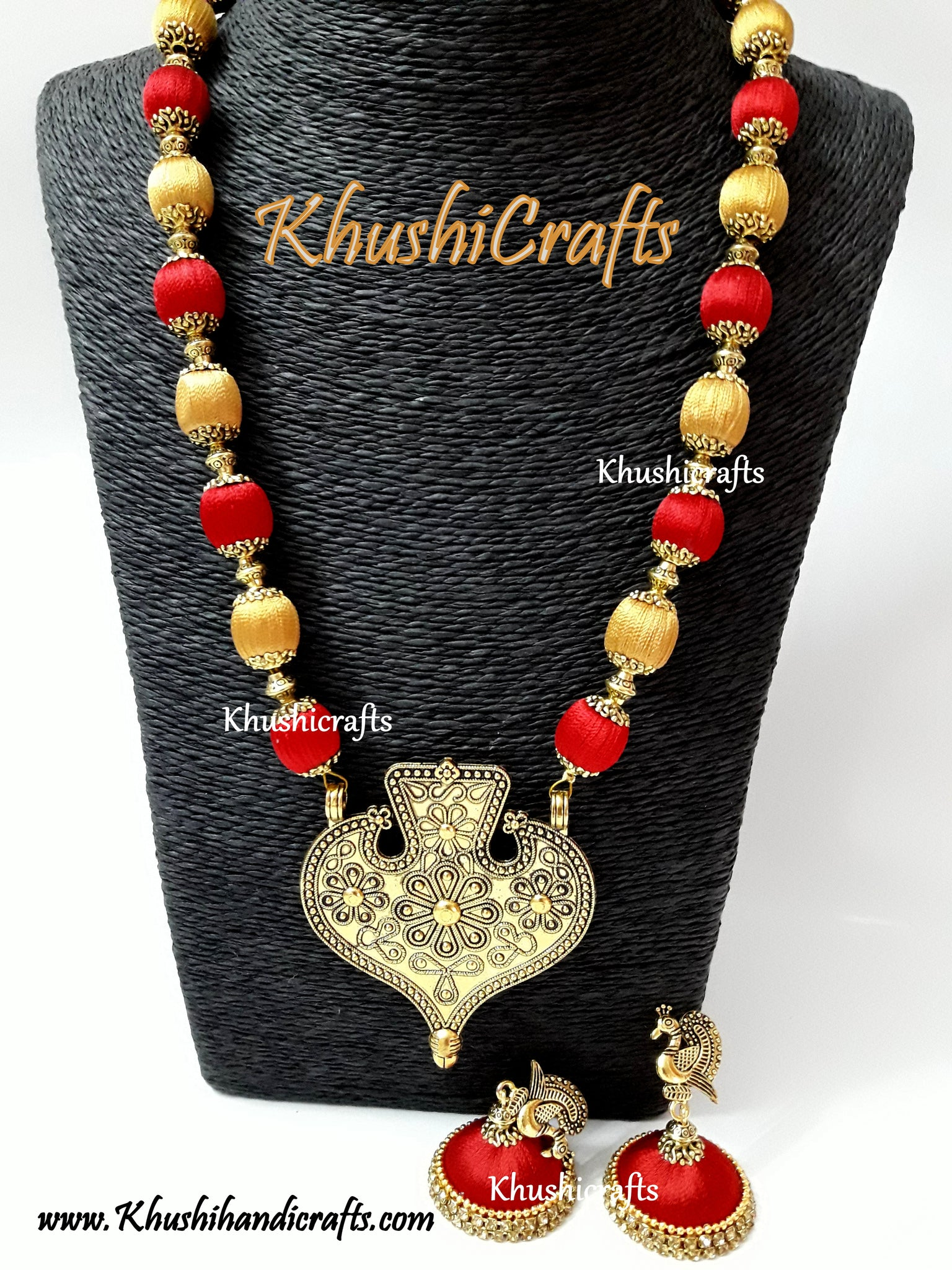 Buy red and gold silk thread jewelry set with designer pendant red and gold silk thread jewelry set with designer pendant mozeypictures Gallery