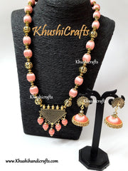 Silk Thread Jewelry in Peach