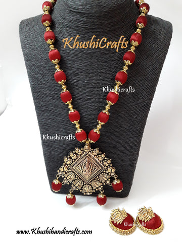 Maroon shaded Silk Thread Jewelry Set with Designer Lakshmi Pendant!