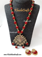 Maroon Silk thread Jewelry with Lakshmi Pendant