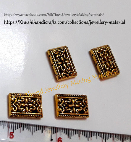 Antique Gold/Silver Flower Pattern 3 Holes Rectangle Spacer /Connector Beads .Sold per piece -CO8