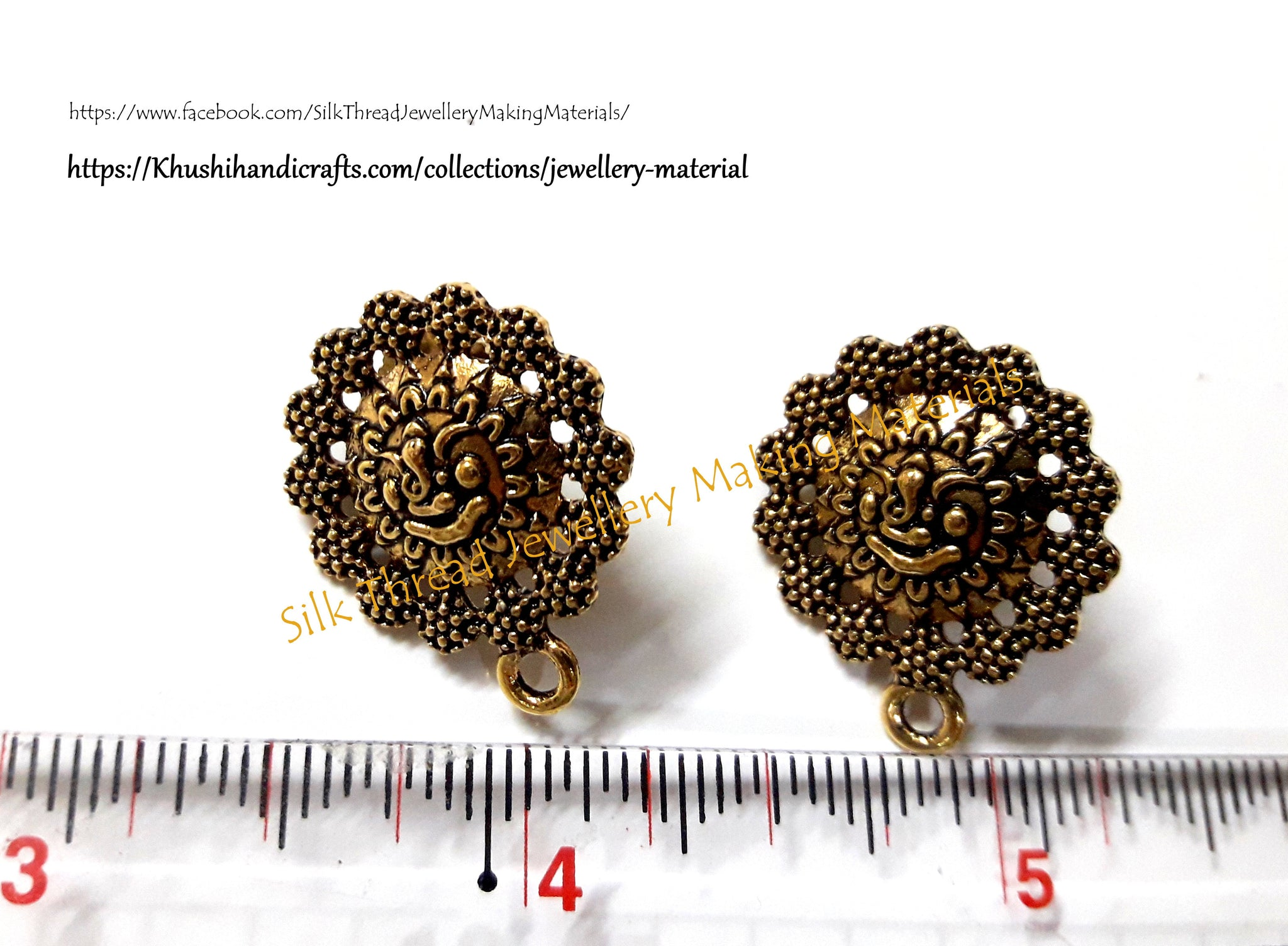Antique gold Ganesha studs .Jewelry Materials