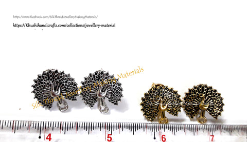Antique Gold / Silver Peacock Stud pattern 12 -ST7