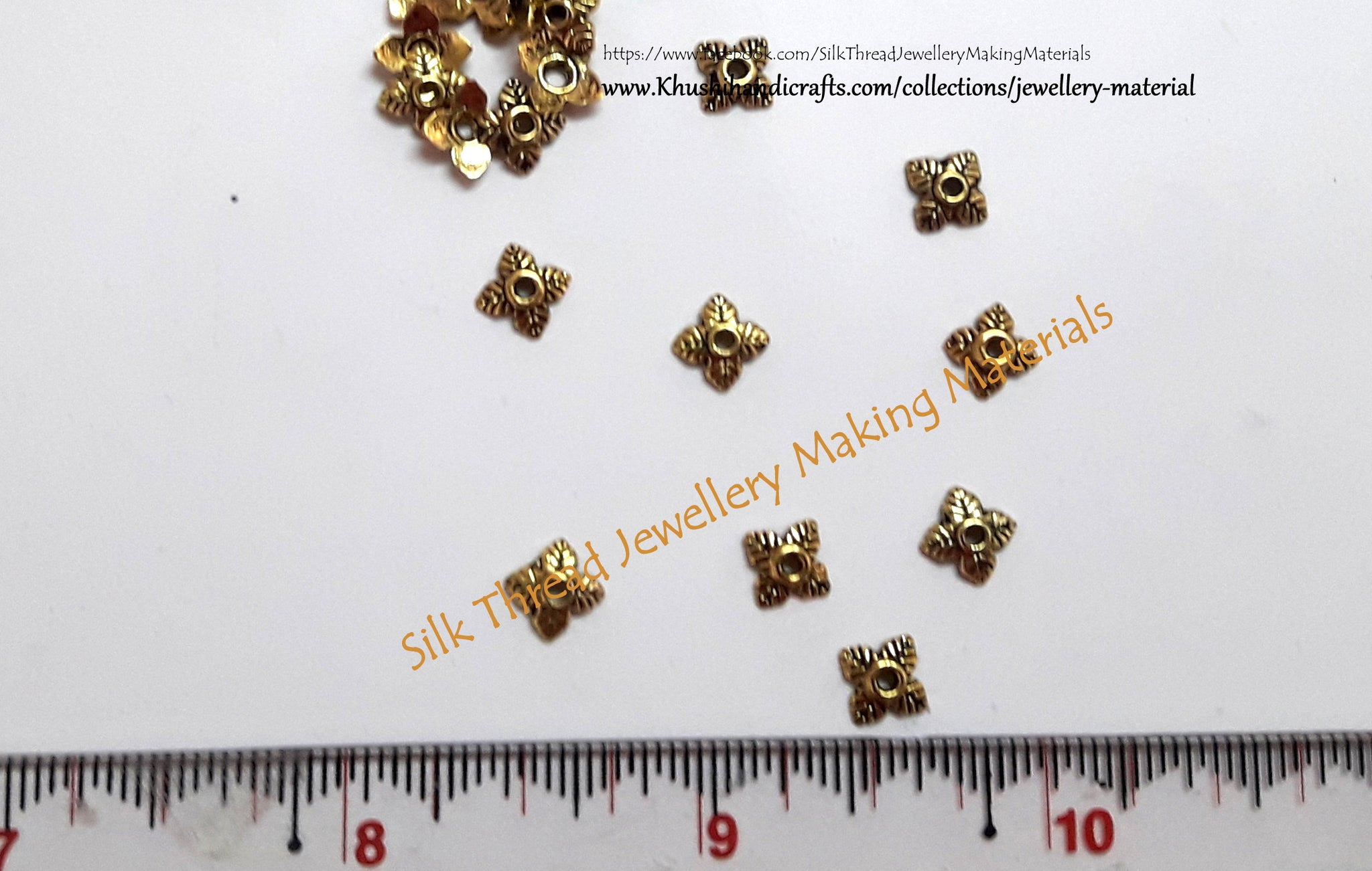 Antique Multiple Leaf Gold / Silver small Bead Caps -BC28 - Khushi Handmade Jewellery