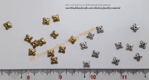 Antique Multiple Leaf Gold / Silver small Bead Caps -BC28